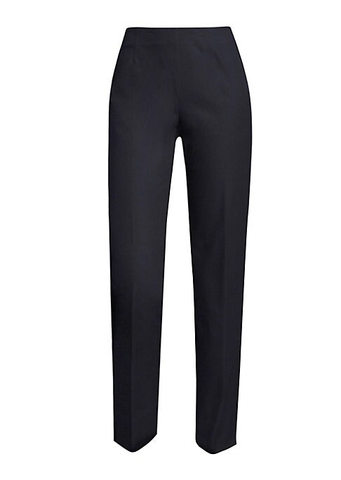 """Image of Cotton-blend sleek cropped pant. Banded waist. Straight-fit. Rise, about 9"""".Inseam, about 27"""".Cotton/elastane. Machine wash. Imported. Model shown is 5'10"""" (177cm) wearing US size 4."""