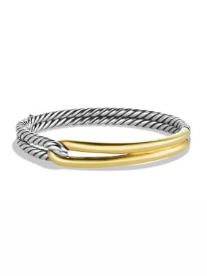 Labyrinth Single-Loop Bracelet With Diamonds And Gold, Silver-Gold