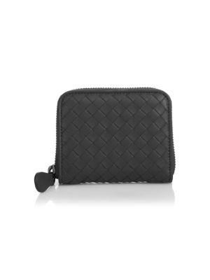 Bottega Veneta Intrecciato Zip-Around Card Case, Dark Gray, Nero