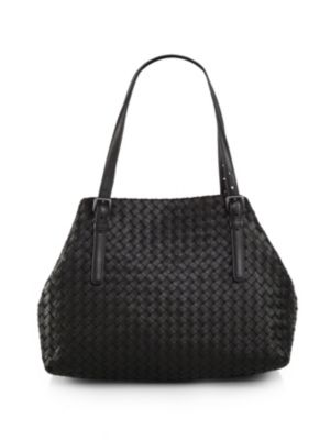 Medium Double Handle Leather Tote by Bottega Veneta