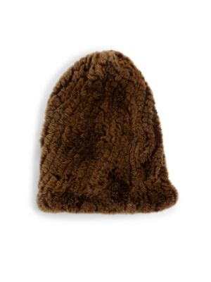 SURELL Rabbit Fur Slouch Beanie in Golden Brown