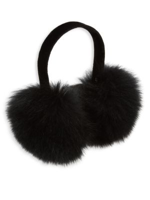 SURELL Fox Fur Earmuffs in Blue Frost