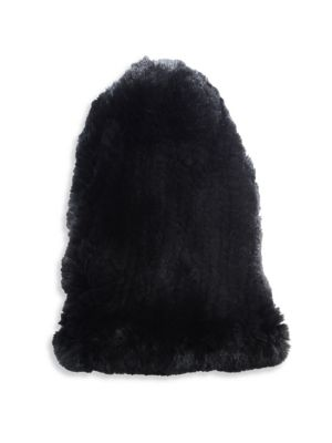 SURELL Rabbit Fur Slouch Beanie in Black