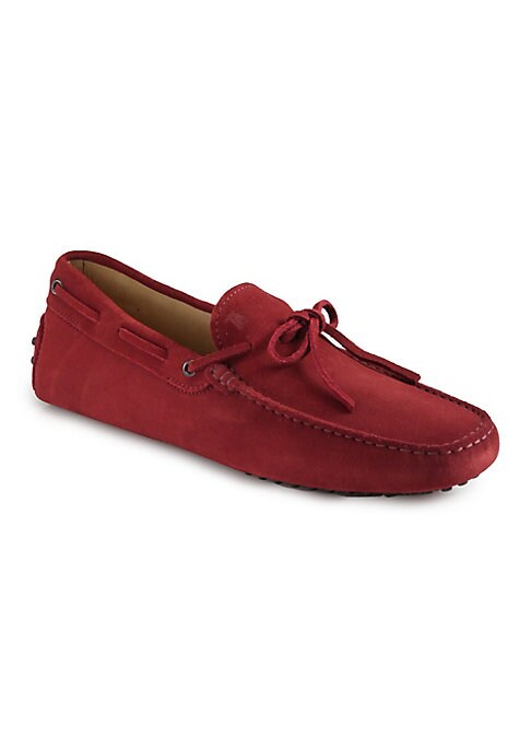 Image of Sumptuous suede style features with tie-detail and tonal stitching. Suede upper. Leather lining. Rubber sole. Made in Italy.
