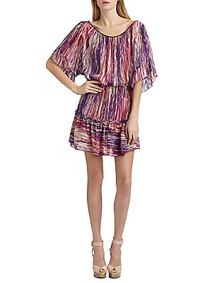 """Image of Gathered stripped silk chiffon dress with peasant silhouette Boatneck Elbow-length flutter sleeves Blouson waist Ruffled trim About 36"""" from natural waist Silk Dry clean Imported Model shown is 5'10"""" (177cm) wearing US size 4. Please note: This item is Fi"""