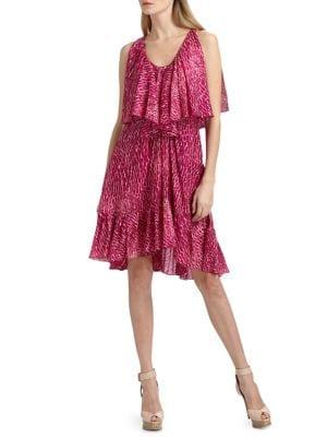 CYNTHIA STEFFE Carey Printed Silk Chiffon Dress in Fuchsia