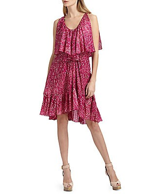 """Image of Printed silk chiffon dress with textured stripes design Scoopneck Sleeveless Ruffled overlay at bodice Set-in waistband Gathered skirt with ruffled hem About 36"""" from shoulder to hem Silk Dry clean Imported Model shown is 5'10"""" (177cm) wearing US size 4."""