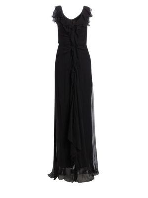 Ruffled Silk Chiffon Dress thumbnail