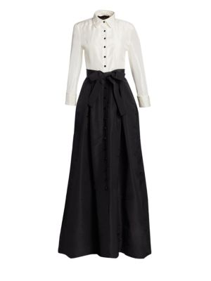 Two-Tone Silk-Taffeta Gown, Black/ Ivory