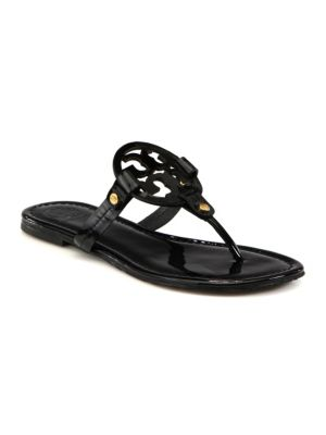 Tory Burch Miller Patent Leather Logo Thong Sandals