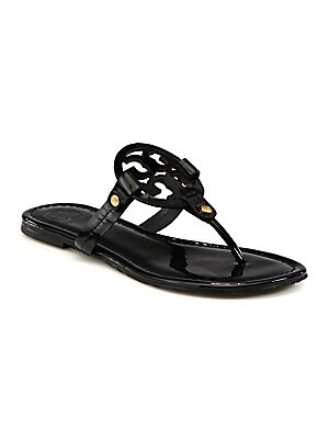 ec4049b77940 Tory Burch - Miller Patent Leather Logo Thong Sandals - saks.com