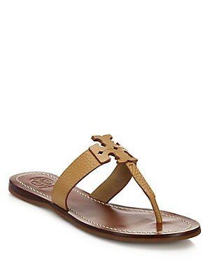 8a79bc516966d4 Tory Burch - Moore Leather Logo Flat Sandals - saks.com