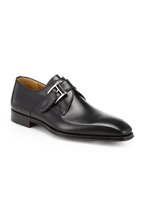 Image of EXCLUSIVELY OURS. From the Magnanni Collection. From the handcrafted medallion perforations down to the sleek monk strap, Magnanni's third-generation heritage is evident in this flexible, Bologna-constructed dress shoe. Leather upper. Hand burnishing. Bol
