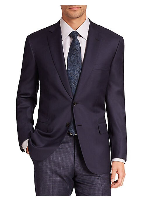 Image of A distinguished business essential, this Italian-crafted jacket cut from the finest wool, features two-button front styling and an exceptionally versatile shade. Notch collar. Two-button front. Chest welt pocket. Waist flap pockets. Long sleeves. Dual bac