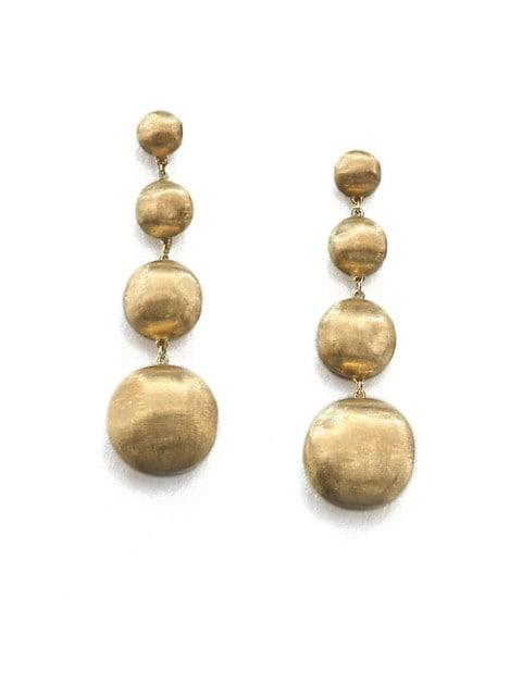 Africa 18K Yellow Gold Four-Ball Drop Earrings