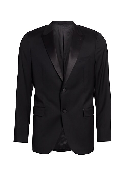 Image of From the Saks IT LIST. THE JACKET. The wear everywhere layer that instantly dresses you up. Meticulously tailored tuxedo jacket with hand-stitched full canvas inner construction for a beautiful fit, in pure wool highlighted with satin lapels and buttons.