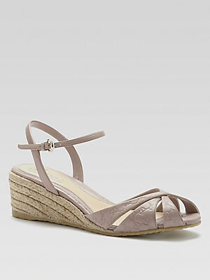 71fa5bb71bfda7 Gucci - Penelope Leather Espadrille Wedge Sandals - saks.com
