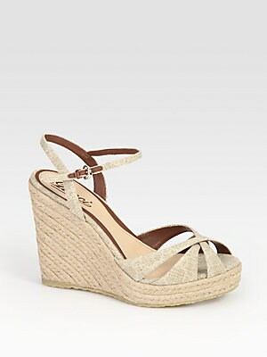 03a414c420f1 Gucci - Penelope Linen And Leather Espadrille Wedge Sandals - saks.com