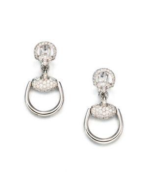 63e588f18 Gucci - Horsebit Diamond & 18K White Gold Drop Earrings - saks.com