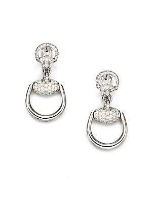 004b1a56db7 Gucci - Horsebit Diamond   18K White Gold Drop Earrings - saks.com