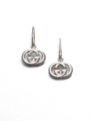 """Image of From the Britt Collection. Gleaming double G logos of sterling silver, signature symbols of Gucci style. Sterling silver. Length, about 1"""".Ear wire. Made in Italy."""