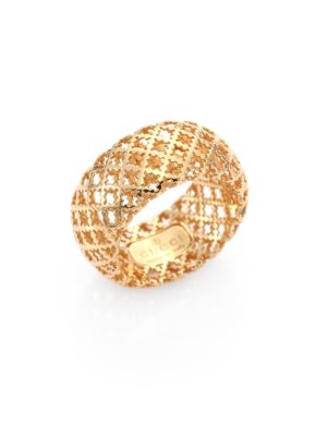GUCCI DIAMANTISSIMA ENAMEL & 18K YELLOW GOLD BAND RING