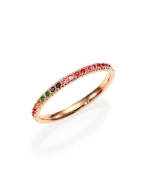 Multicolor Sapphire, Ruby, Emerald & 14 K Rose Gold Rainbow Eternity Band Ring by Sydney Evan