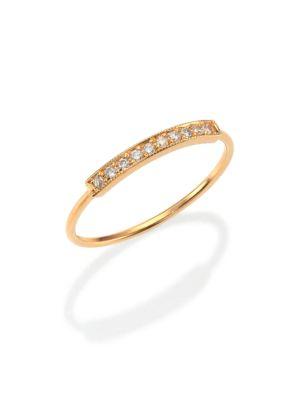 Pavé Diamond & 14K Yellow Gold Horizontal Bar Ring