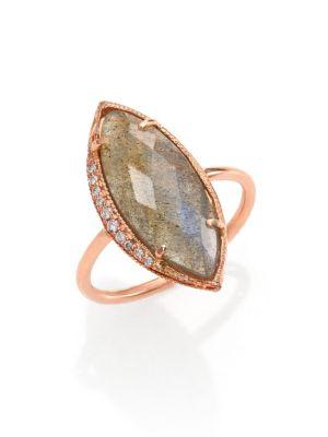 Labradorite, Diamond & 14K Rose Gold Marquis Ring