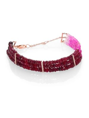 """Image of Ruby briolette deepen from a delicate petal pink to a dark cabernet red in three separate strands, gathered as a bracelet by slender columns of diamond pave within a setting of 14k rose gold. Ruby. Diamonds, 0.15 tcw.14k rose gold. Length, about 5.5"""" with"""