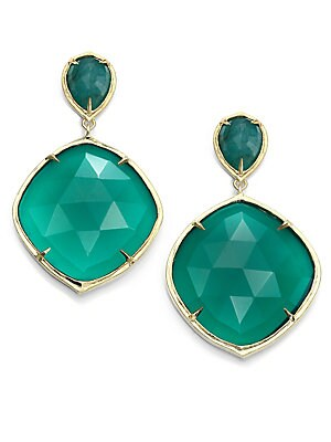 Ila Keely Green Onyx Emerald 14k Yellow Gold Drop Earrings
