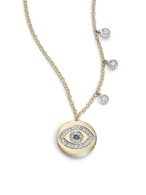 Sapphire, Diamond & 14K Yellow Gold Evil Eye Disc Charm Necklace