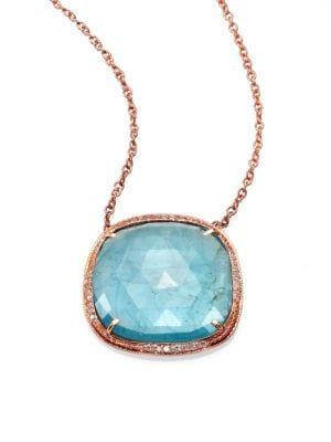 Aquamarine, Diamond & 14K Rose Gold Freeform Pendant Necklace