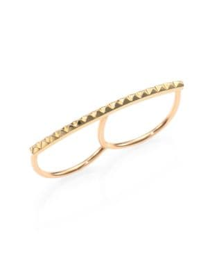 "Image of From a brand with a delicate and elegant aesthetic, a chic, 14k gold, pyramid stud bar an edgy two-finger design. .14k gold. Width, about 1.5"".Made in USA."