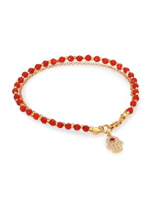 Image of Biography Red Agate & White Sapphire Hamsa Beaded Friendship Bracelet