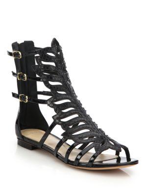 Clergerie Ida Woven Raffia & Leather Sandals