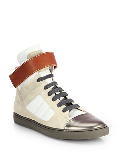Brunello Cucinelli Suede & Leather High Top Sneakers   Sand