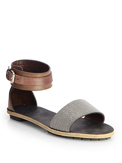 Brunello Cucinelli Beaded Leather Ankle Strap Sandals   Brown Grey