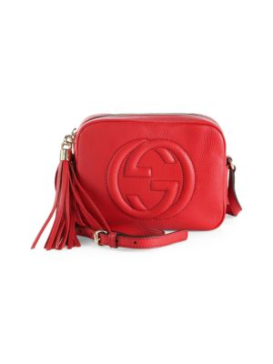 Soho Disco Textured-Leather Shoulder Bag, Red Leather