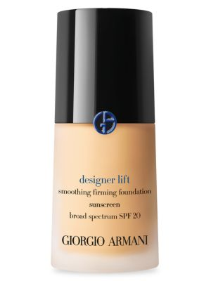 Image of Armani's latest foundation features ten shades of a smoothing and firming fluid foundation with SPF 20. The Armani unique Stretching Micro-fil technology drapes the face with an ultrafine micro-lifting matrix. This elastic matrix seals in a high concentra