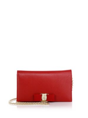 Miss Vara Saffiano Leather Bow Chain Wallet