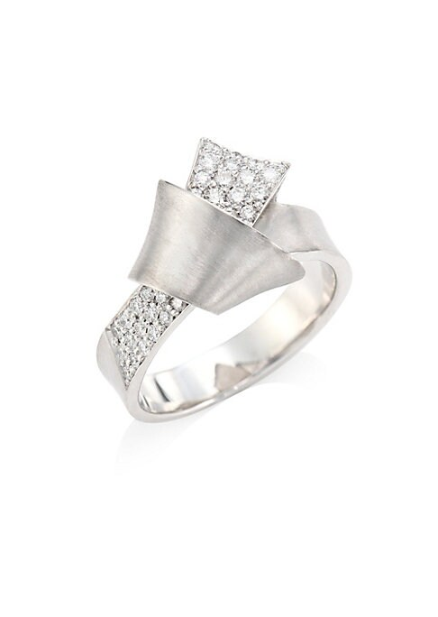 Image of Folds of 18k white gold dazzle with rows of sparkling pave diamond. Sumptuous in its simplicity, this ultra-luxe jumbo ring presents a graceful silhouette that is visually stunning. From the Knot Collection. Diamonds, 0.51 tcw.18K white gold. Made in USA.