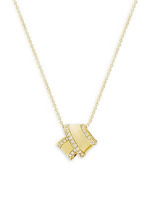 "Image of From the Knot Collection. Architectural knot pendant with sparkling pavé trim. Diamonds, 0.13 tcw Diamond clarity, VS Diamond color, G-H 18K yellow gold Spring ring Made in USA SIZE Length, about 16"". Fine Jewelry - Fine Designer Jewelry C > Saks Fifth Av"