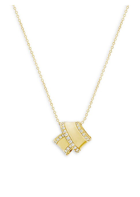 """Image of From the Knot Collection. Architectural knot pendant with sparkling pave trim. Diamonds, 0.13 tcw.18K yellow gold. Length, 16"""".Spring ring. Made in USA."""