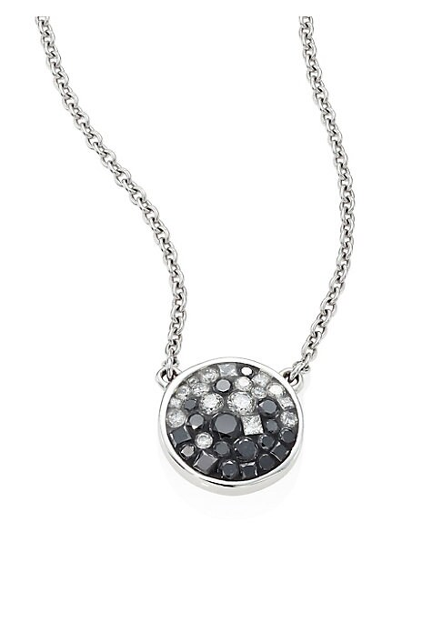 """Image of From the Geometric Collection. Dazzling pendant necklace with ombre diamond mosaic. White and black diamonds, 0.80 tcw.18k white gold. Length, 17.5"""".Diameter, 0.5"""".Lobster clasp. Made in USA."""