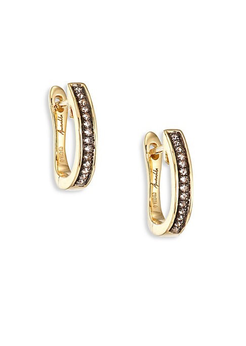 "Image of From the Eclipse Collection. Versatile hoop earrings inset with micro-pave diamonds. Diamonds, 0.16 tcw.18k yellow gold. Drop, 1"".Lever back. Imported."