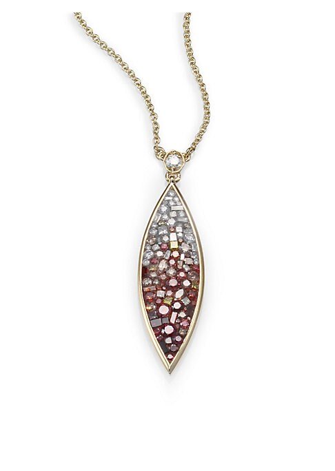 """Image of Dazzling diamonds gradually shade from white at the top to deep raspberry at the tip of this graceful marquis-shaped pendant that bursts with color. Raspberry, yellow, cognac, pink and white diamonds, 2.2 tcw.18k yellow gold. Length, about 17.5"""".Pendant l"""