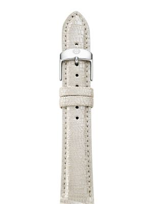 "Image of Interchangeable textured metallic strap for subtle shine. Metallic leather. Stainless steel. Width, 16mm (0.5"").Buckle closure. Made in Switzerland."