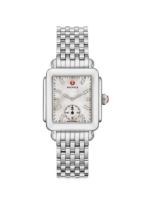"""Image of From the Deco Collection. A timeless style with mother-of-pearl dial and diamond hour markers. Swiss quartz movement. Water resistant to 5 ATM. Rectangular polished stainless steel case, 29mm x 31mm (1.15"""" x 1.2"""").Smooth bezel. Red cabochon crown. Sapphir"""