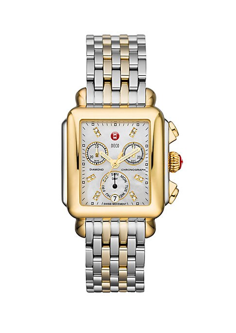 """Image of From the Deco Collection. Dazzling diamonds give this modern two-tone stainless steel timepiece an extra boost of brilliance. Swiss quartz movement. Water resistant to 5 ATM. Rectangular polished stainless steel case, 35mm x 33mm (1.4"""" x 1.3"""").Polished 18"""